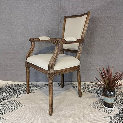 Ash Brown With Cream Linen Godfather Solid Oak Dining Chair