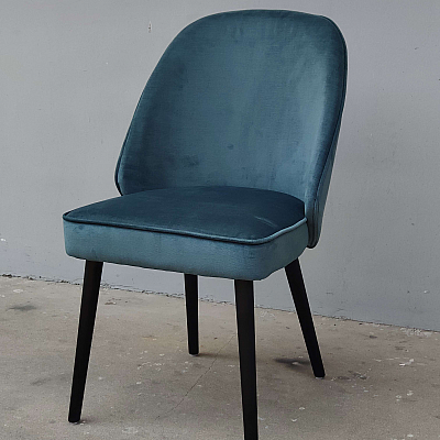 "Dining Chair ""Olivia"" in Petrol Blue Velvet"