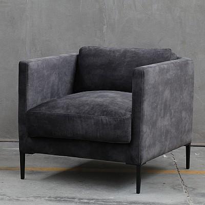 "Accent Chair ""Zachary"" in Dark Grey Velvet"