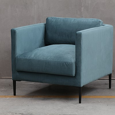 "Accent Chair ""Zachary"" in Petrol Blue Velvet"