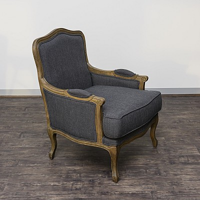 "Accent chair ""Ludwig"" in Dark Grey Linen-Blend Fabric"