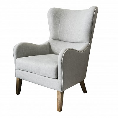 "Accent chair ""Victoria"" in Light Grey Linen-Blend Fabric"