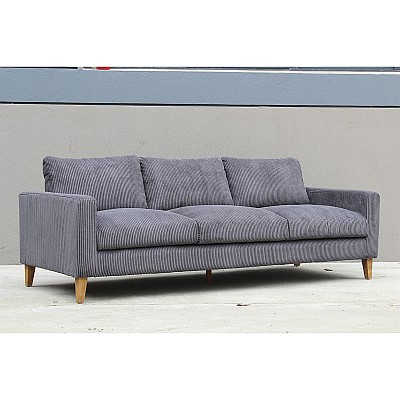 "3 Seater Sofa ""Theodor"" in Grey Corduroy"