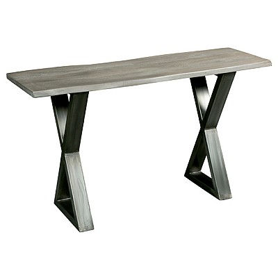 """Timber And Metal Console Table """"Dev"""" in Grey/Silver"""