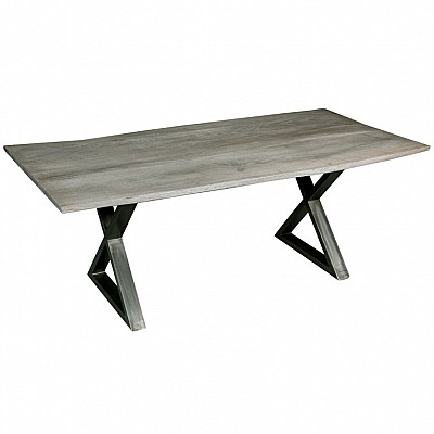"""Timber And Metal Dining Table """"Dev"""" Grey/Silver"""