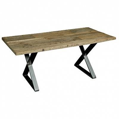 """Timber And Metal Dining Table """"Dev"""" Natural/Black"""