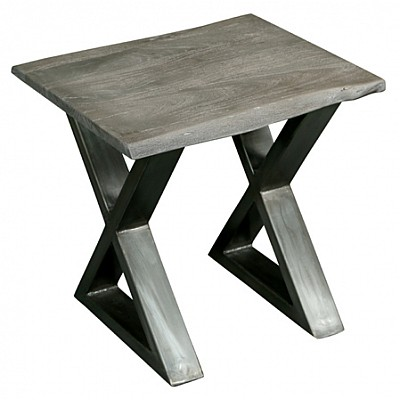 "Timber And Metal End Table ""Dev"" Grey/Silver"