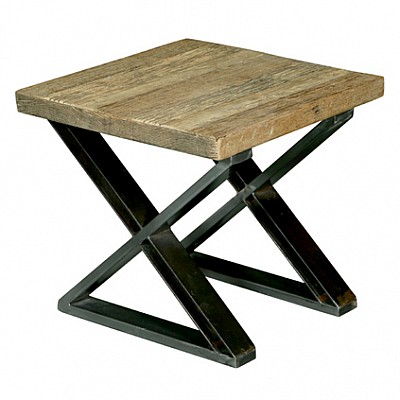 "Timber And Metal End Table ""Dev"" Natural/Black"