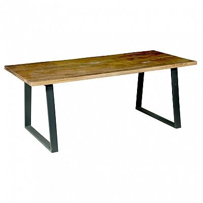 "Timber And Metal Dining Table ""Jai"" Natural/Black"
