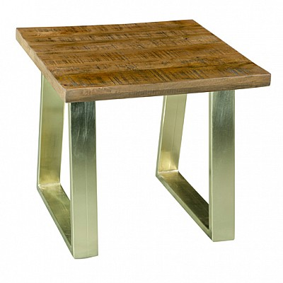 "Timber And Metal End Table ""Jai"" Natural/Gold"