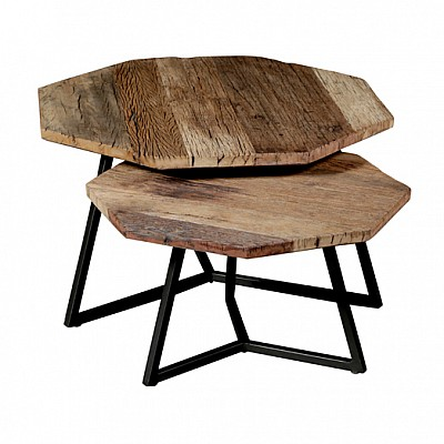 Set of 2 Octagonal Timber And Metal Nesting Side Tables in Natural/Black