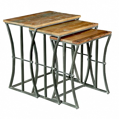 Set of 3 Rectangular Timber And Metal Nesting Side Tables in Natural/Silver