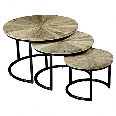 Set of 3 Round Timber And Metal Nesting Side Tables in Natural/Black