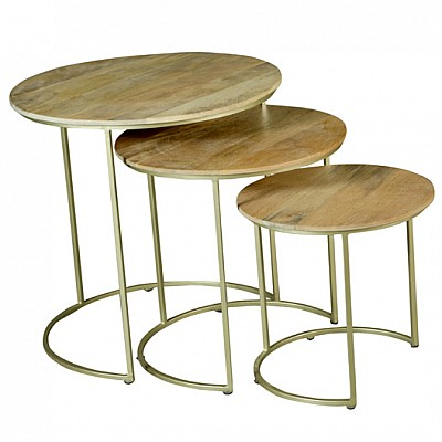 Set of 3 Round Timber And Metal Nesting Side Tables in Natural/Gold