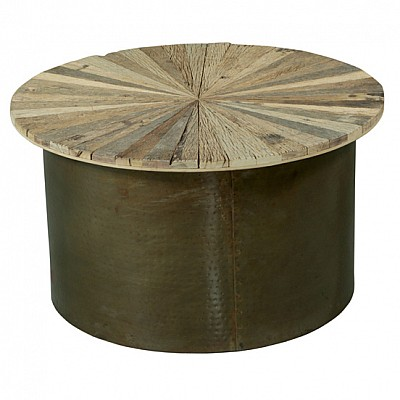 Timber And Metal Round Coffee Table Natural/Bronze