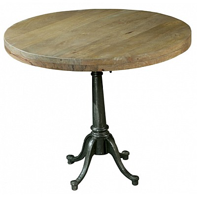 Timber And Metal Round Table Natural/Black