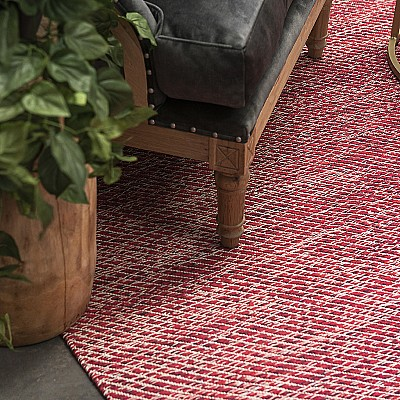 "Cotton Flatweave Rug ""Lima"" Red"