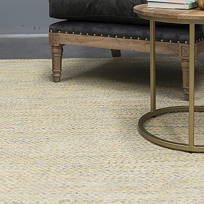 "Cotton Flatweave Rug ""Lima"" Yellow"