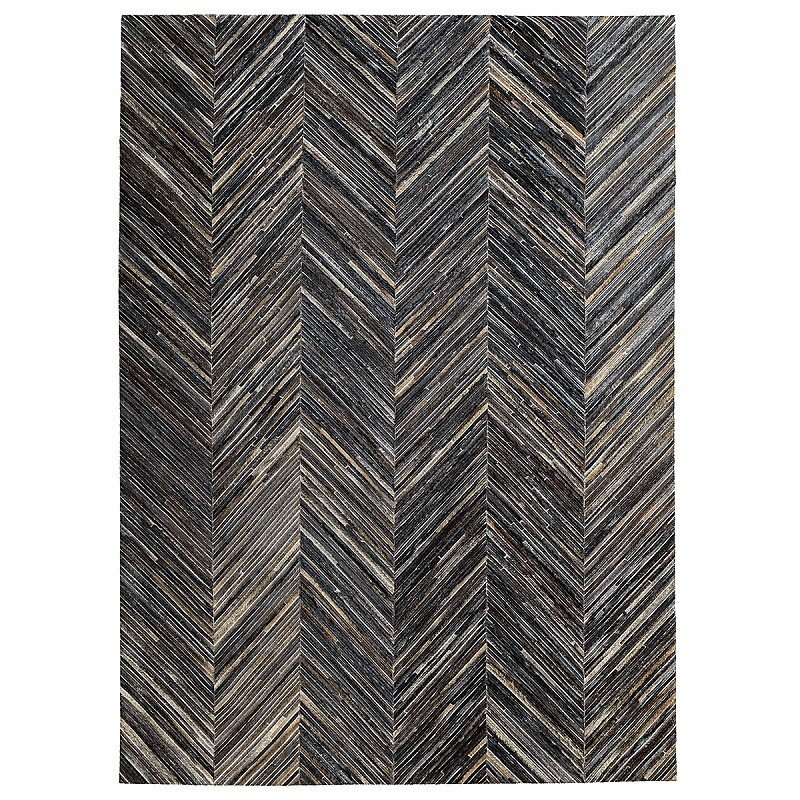 Cowhide Patchwork - Charcoal Chevron