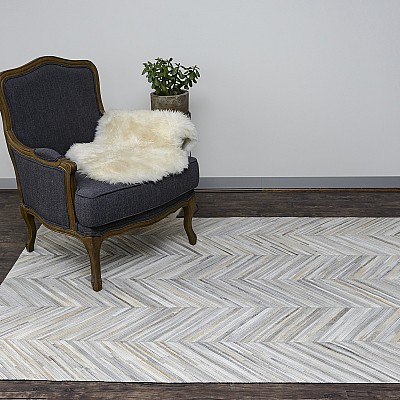 Cowhide Patchwork - Silver Grey Chevron