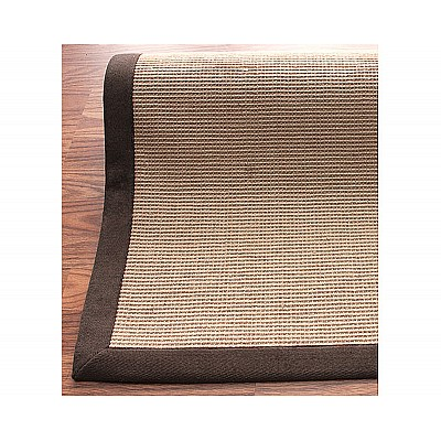 Jute Rug With Brown Cotton Border