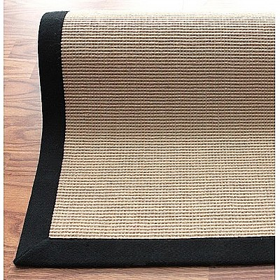 Jute Rug With Black Cotton Border