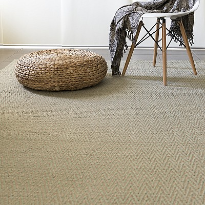 "Jute Flatweave ""Chevron"" Rug in Sage Green"