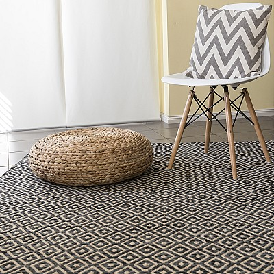 "Jute Flatweave Rug ""Diamond"" in Black"