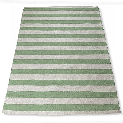 "Jute Flatweave ""Hampton Lines"" in Green"