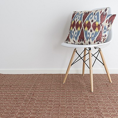 "Jute Flatweave ""Honeycomb"" in Red"