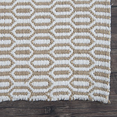 "Jute Flatweave ""Honeycomb"" in White"