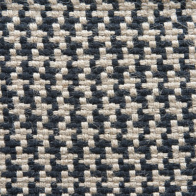 "Jute Flatweave ""Houndstooth"" in Black"