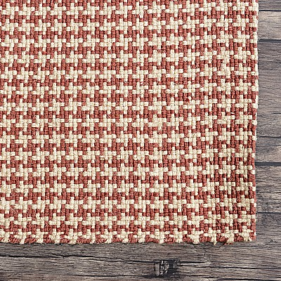 "Jute Flatweave ""Houndstooth"" in Red"