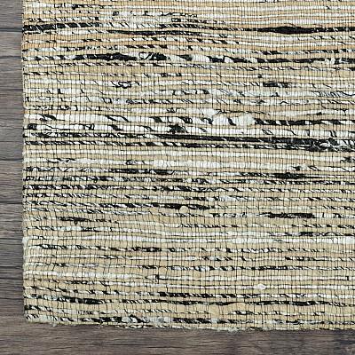 """Recycled Silk Jute Flatweave Rug """"Jaipur"""" in Black/Silver"""