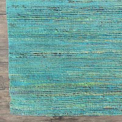 """Recycled Silk Jute Flatweave Rug """"Jaipur"""" in Blue"""