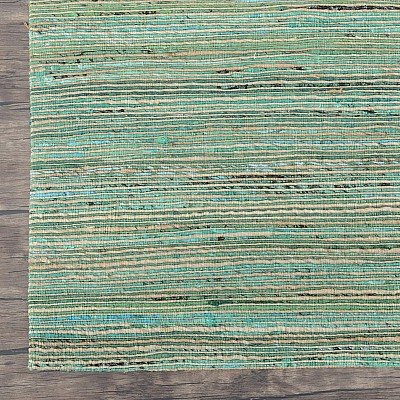 "Recycled Silk Jute Flatweave Rug ""Jaipur"" in Green"