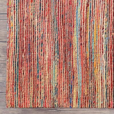 """Recycled Silk Jute Flatweave Rug """"Jaipur"""" in Red"""