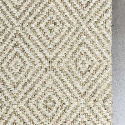 "Jute Flatweave ""Rustic Diamond"" in White"