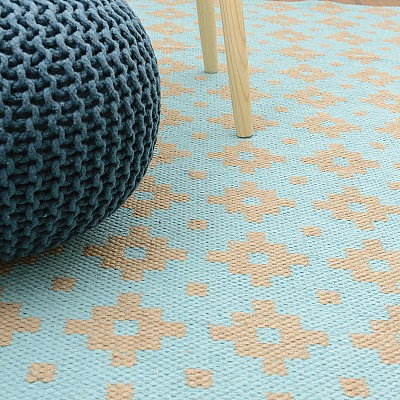 "Jute Flatweave Rug ""Star"" in Aqua Blue"