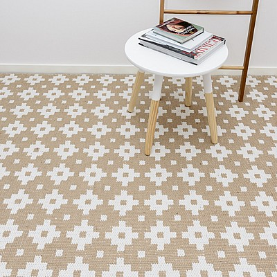 "Jute Flatweave Rug ""Star"" in White"