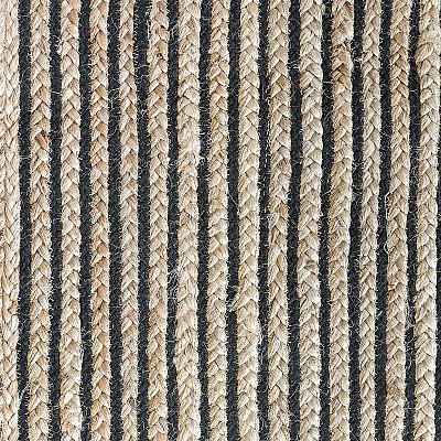 Jute Braided Rug With Black Lines