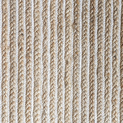 Jute Braided Rug With White Lines