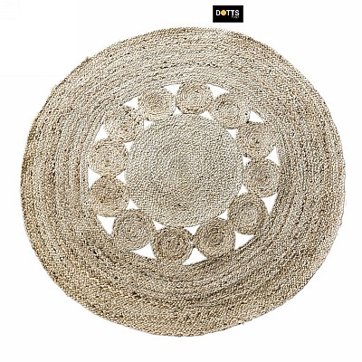 "Jute Braided 1.2 Meter Round Rug ""Flower"""