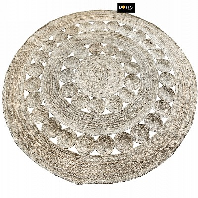 "Jute Braided 2 Meter Circle  Rug ""Flower"""
