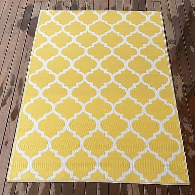 150x220cm Yellow/White Outdoor Alfresco polypropylene washable uv resistant rug