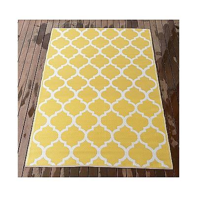 150x220cm Yellow/White Outdoor Alfresco polypropylene washable uv resistant rug