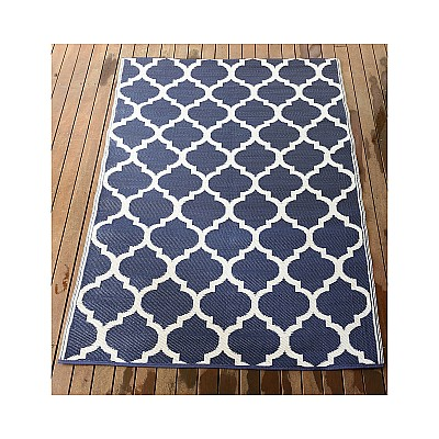 150x220cm Blue/White Outdoor Alfresco polypropylene washable uv resistant rug