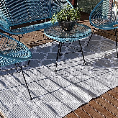 150x220cm Silver/White Outdoor Alfresco polypropylene washable uv resistant rug