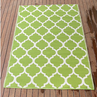150x220cm Green/White Outdoor Alfresco polypropylene washable uv resistant rug