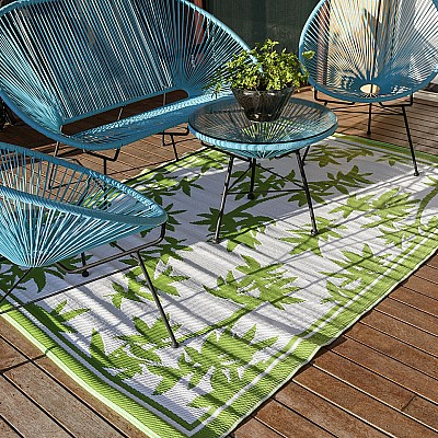 150x220cm Green/White Floral Outdoor Alfresco polypropylene washable uv resistant rug